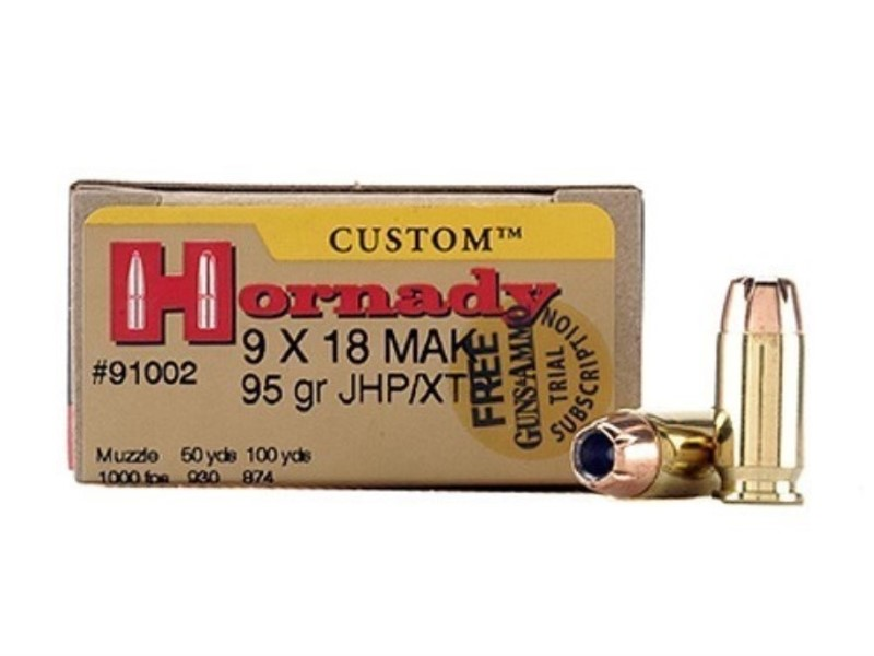 HORNADY Ammunition CUSTOM 9X18 MAKAROV 95GR XTP (91002)