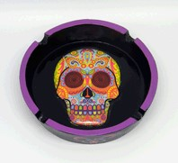 FANTASY GIFTS 2164 MULTI COLORED DAY OF THE DEAD ASHTRAY