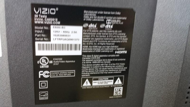 VIZIO Flat Panel Television E600I-B3