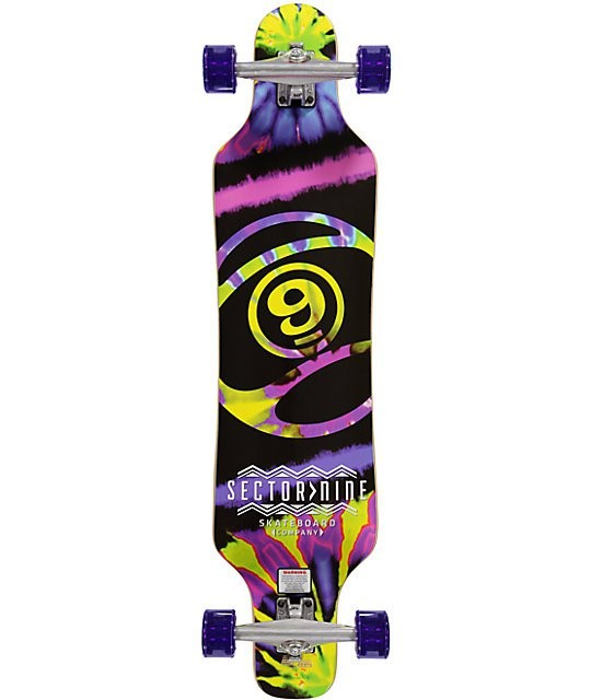 SECTOR 9 Complete Longboard Silver/Red Hula Girl w/Yellow Sector 9 Logo 45-1/2""