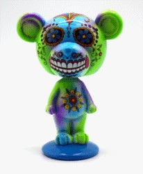 FANTASY GIFTS 2576 BLUE/GREEN DAY OF THE DEAD BEAR BOBBLEHEAD