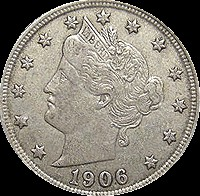 Antique UNITED STATES Coin 1906 V NICKEL
