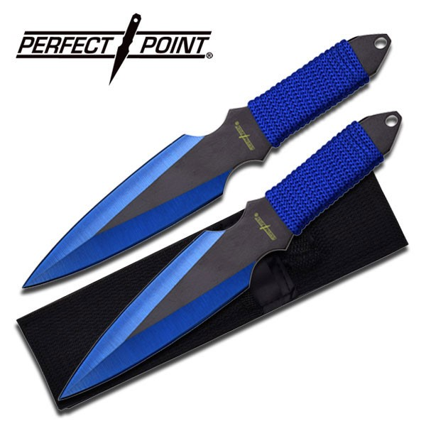 """PERFECT POINT MODEL PP-080-2BL, 2 PC THROWING KNIFE SET, 9"""" OVERALLL LENGHT, STA"""