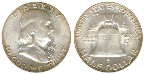 UNITED STATES Silver Coin 1961 FRANKLIN HALF DOLLAR