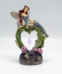 FANTASY GIFTS 2459 FAIRY SITTING ON HEART W/LED LIGHT