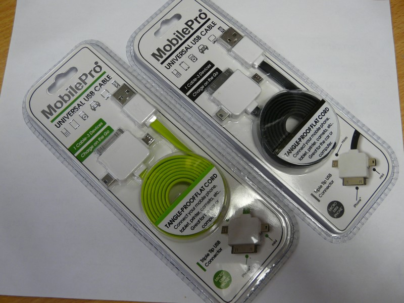 MOBILEPRO MP003 3-IN-1 FLAT TANGLE PROOF CHARGE CABLE