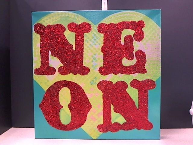 "JESSICA GALINDO Painting 18 X 18 GLITTER ART ""NEON"" ON CANVAS"