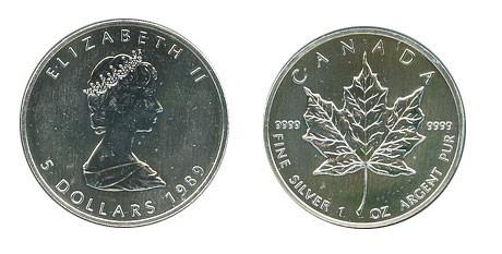 CANADA Silver Coin ELIZABETH II 1989 5 DOLLARS