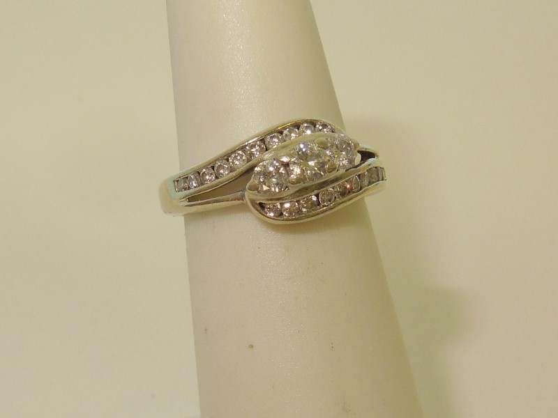 Lady's Diamond Cluster Ring 23 Diamonds .44 Carat T.W. 10K White Gold 2.5g