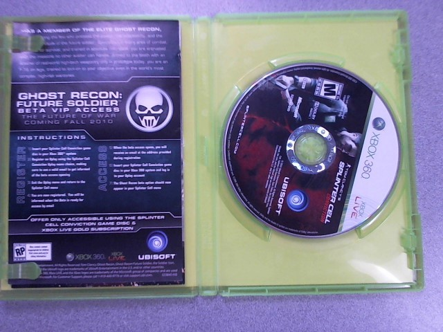 MICROSOFT Microsoft XBOX 360 Game TOM CLANCY'S SPLINTER CELL CONVICTION