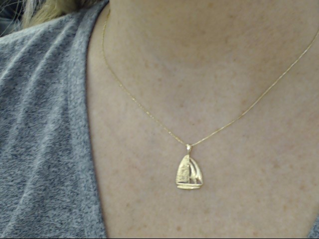 ESTATE SAIL BOAT PENDANT CHARM SOLID REAL 14K GOLD NAUTICAL OCEAN 1""