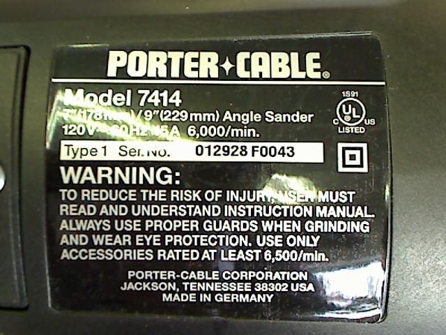 PORTER CABLE Disc Grinder 7414