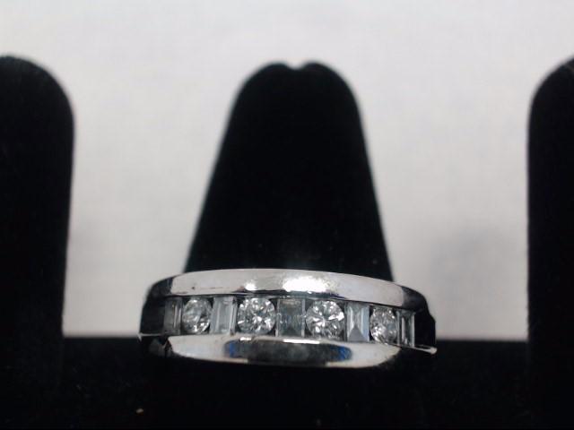 Gent's Diamond Cluster Ring 4 Diamonds .28 Carat T.W. 14K White Gold 7.8g