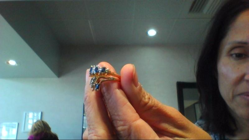 Sapphire Lady's Stone & Diamond Ring 12 Diamonds .12 Carat T.W. 14K Yellow Gold