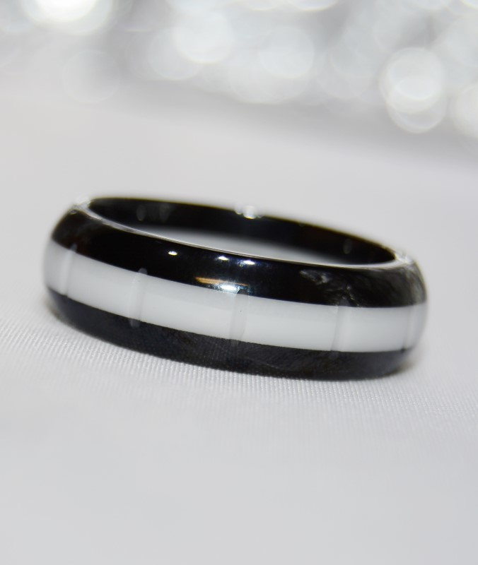 Rochet Roma MotoGP Black & White Ceramic Men's Ring Size 12