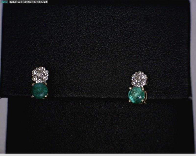Emerald Gold-Diamond & Stone Earrings 24 Diamonds .24 Carat T.W.
