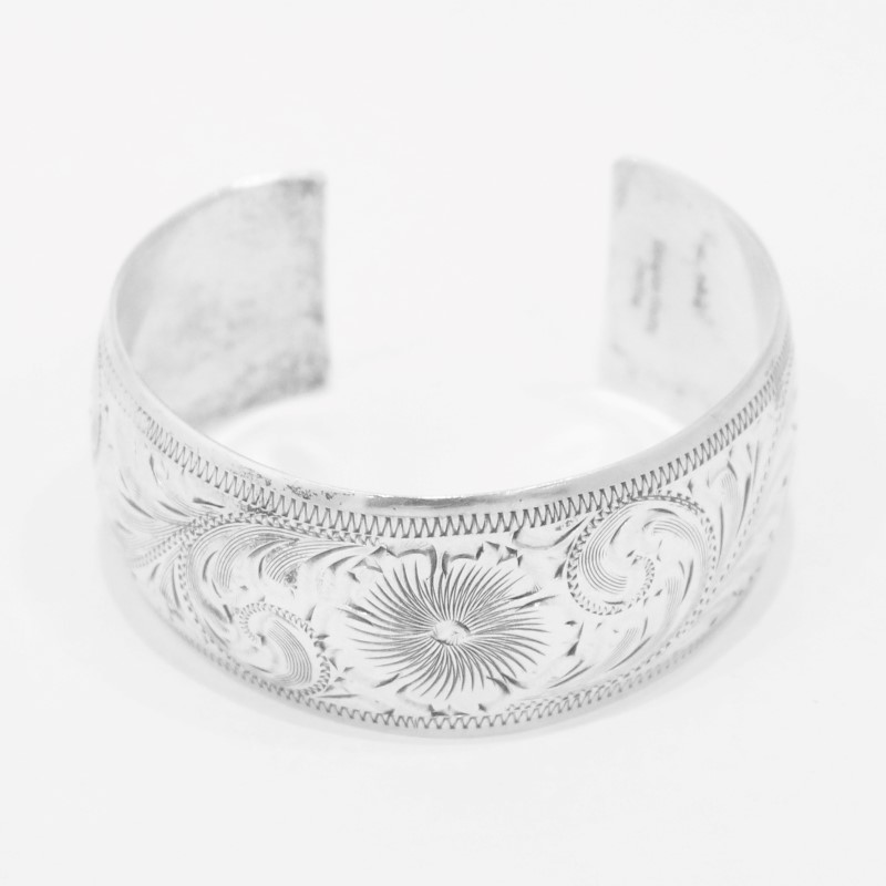 SILVER BANGLE BRACELET with Floral Decoration