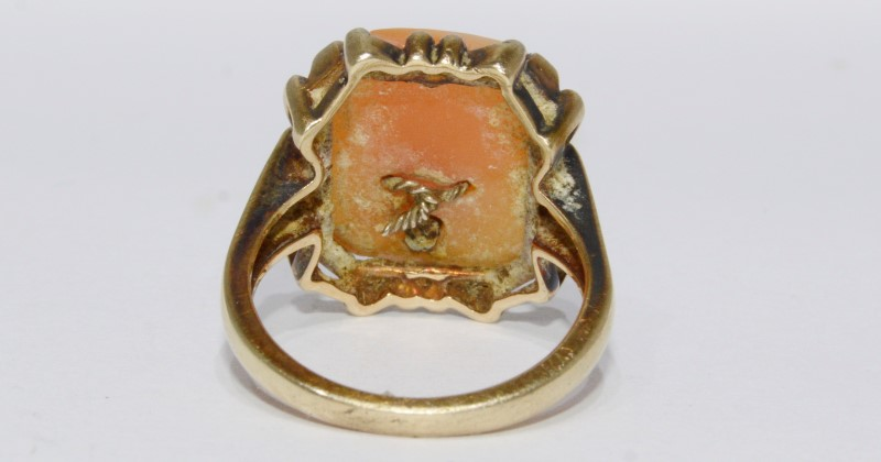 10K Yellow Gold Vintage Inspired Emerald Cut Cameo Ring Wearing Diamond Necklace