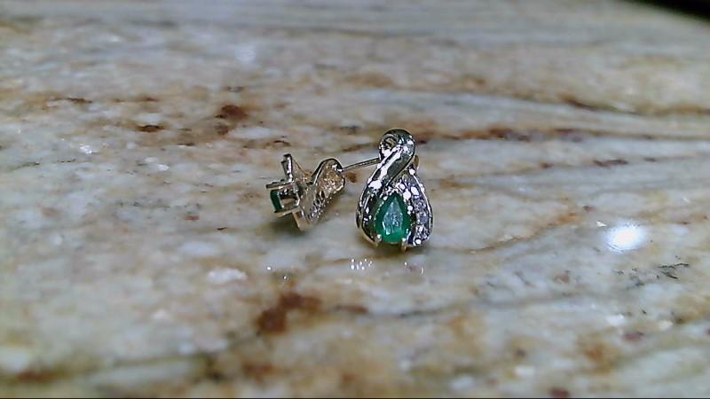 Emerald Gold Diamond & Stone Earrings 10 Diamonds .10 Carat T.W.