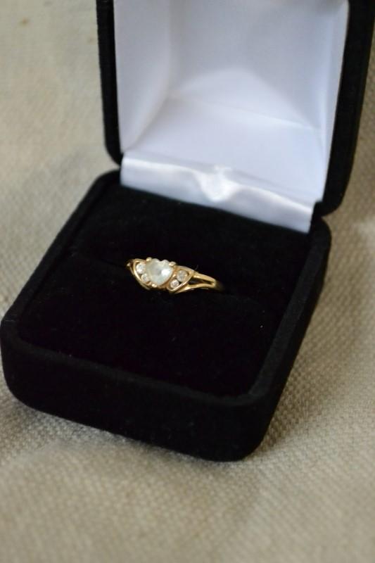 White Stone Lady's Stone & Diamond Ring 4 Diamonds .04 Carat T.W.