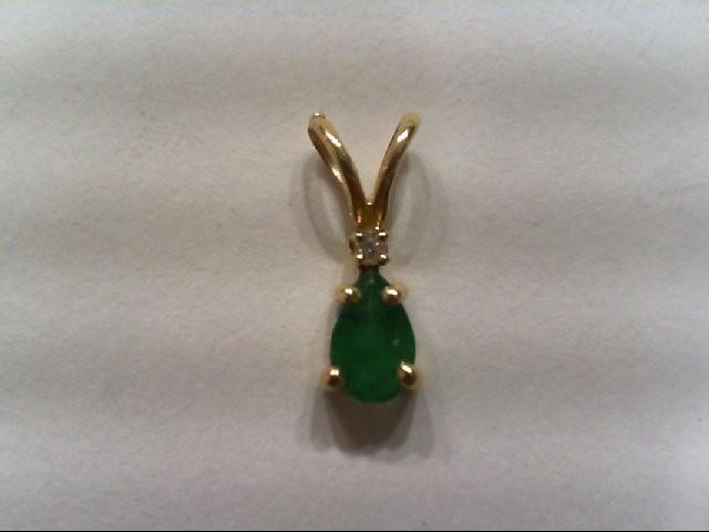 Emerald Gold-Stone Pendant 14K Yellow Gold 0.3g