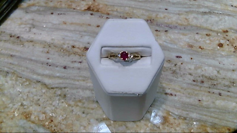 Ruby Lady's Stone & Diamond Ring 2 Diamonds .02 Carat T.W. 14K Yellow Gold 2g