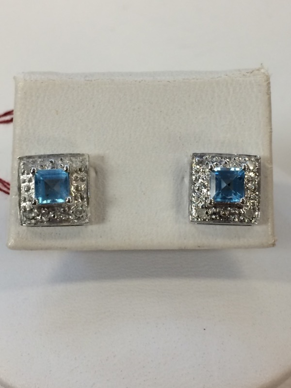 Synthetic Blue Topaz Gold-Stone Earrings 14K White Gold 1.6g