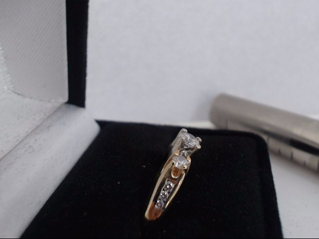 Lady's Gold-Diamond Anniversary Ring 3 Diamonds .80 Carat T.W. 14K Yellow Gold