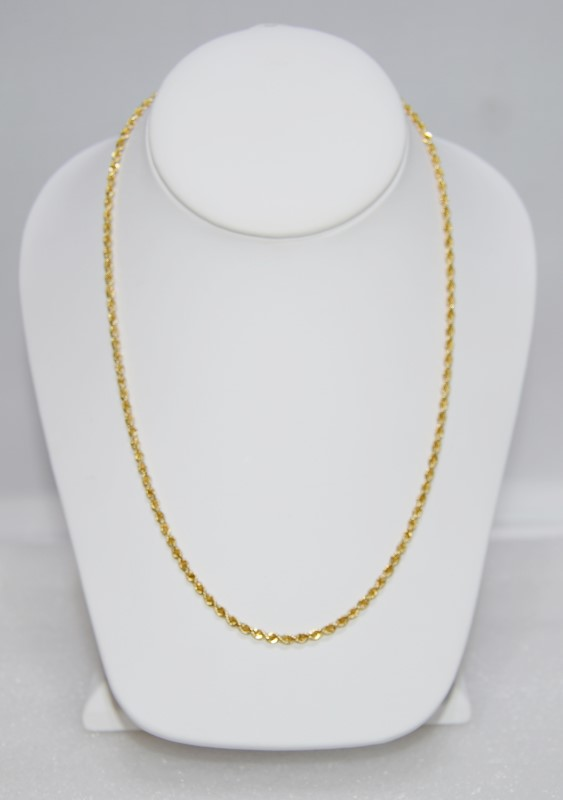 """18"""" 14K Yellow Gold Rope Chain w/ Safety Clasp"""