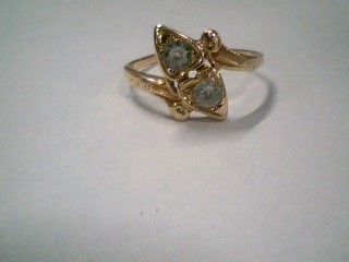 Synthetic Cubic Zirconia Lady's Stone Ring 14K Yellow Gold 1.8g Size:7.5