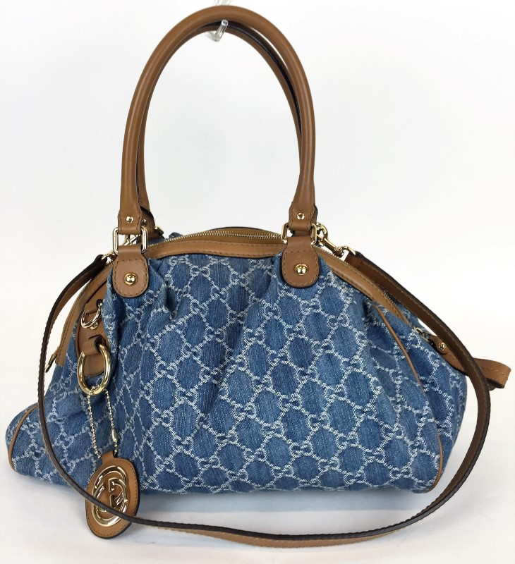GUCCI GG PATTERN 2WAY SHOULDER BAG DENIM 223974