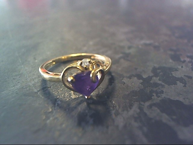 Purple Stone Lady's Stone Ring 10K Yellow Gold 1.1dwt