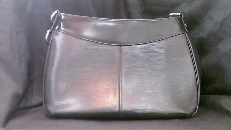 AS-IS Louis Vuitton Black Leather Handbag Broken Zipper