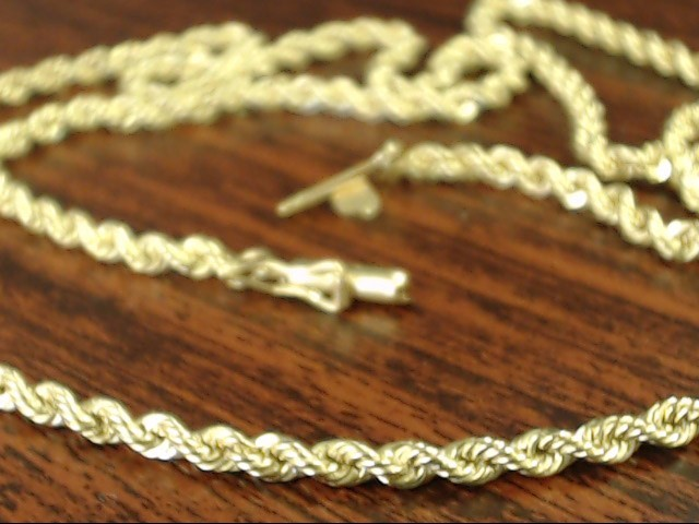 VINTAGE CLASSIC ROPE TWIST NECKLACE CHAIN REAL 14K GOLD 11.4g 20""