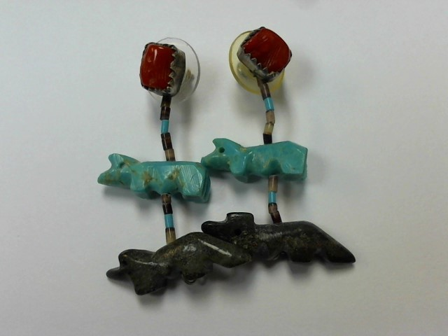 Turquoise Silver-Stone Earrings 925 Silver 6.3g