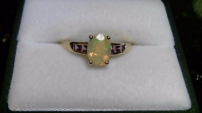 Opal & Pink Tourmaline Lady's Stone 10K Yellow Gold Ring Ring