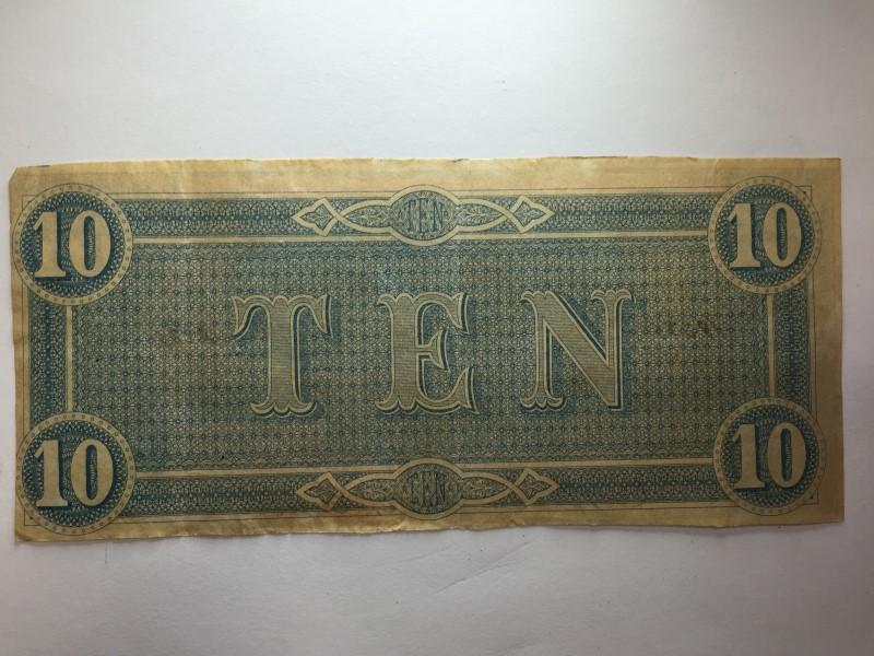 CIVIL WAR CONFEDERATE 1864 10 DOLLAR BILL RICHMOND VIRGINIA PAPER MONEY NOTE CSA