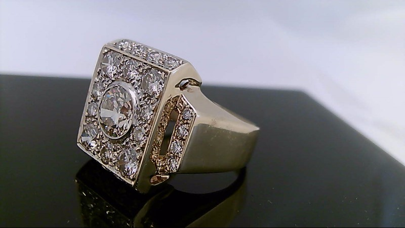 Gent's Diamond Fashion Ring 27 Diamonds 3.44 Carat T.W. 14K Yellow Gold 19.7g