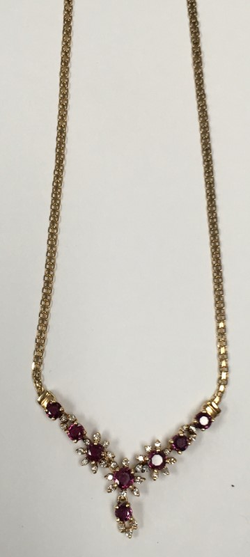 14K GOLD, RUBY, DIAMOND AND STONE NECKLACE, 7.3G 14K YELLOW GOLD.