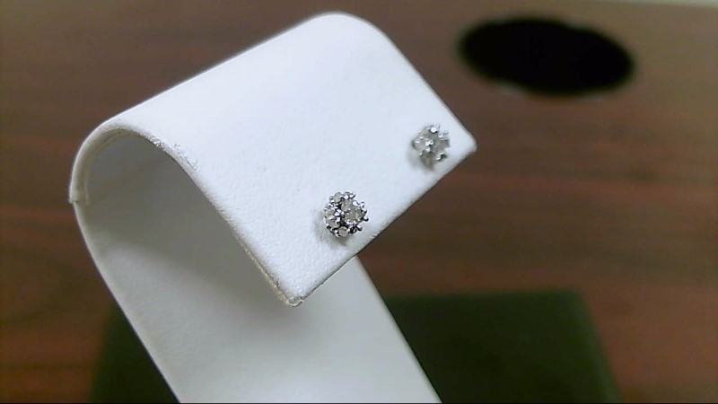 Gold-Diamond Earrings 27 Diamonds .45 Carat T.W. 14K White Gold 0.9g