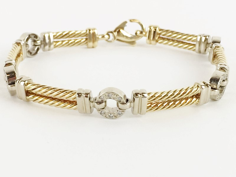 Diamond Bracelet w 30 Diamonds .30 Carat T.W. 14K Yellow Gold 27.9g