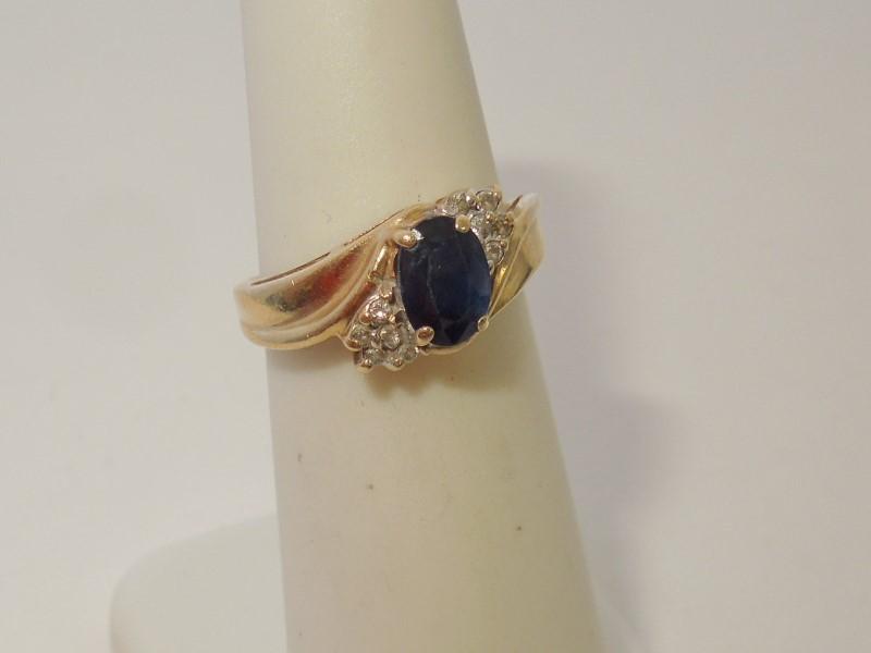 Synthetic Sapphire Lady's Stone & Diamond Ring 10 Diamonds .080 Carat T.W.