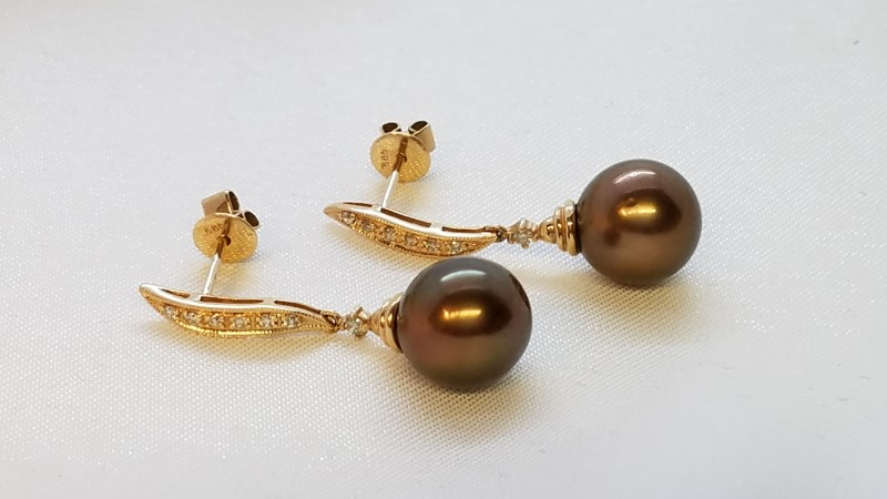 Chocolate Pearl & Diamond Dangle Stud Earrings 14k Yellow Gold