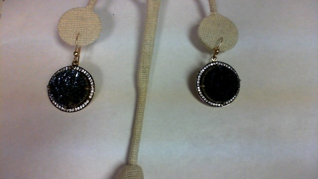 Blue Stone Gold-Stone Earrings Yellow Gold Filled 10.2g