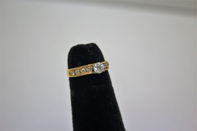 Lady's Diamond Engagement Ring 9 Diamonds .65 Carat T.W. 14K Yellow Gold 2.2g