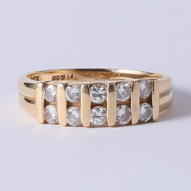 14K Yellow Gold Dual Band Round Brilliant Diamond Ring Size 8.8