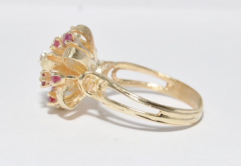 10K Yellow Gold Split Shank Textured Ruby & Diamond Ribbon Bow Statement Ring 9
