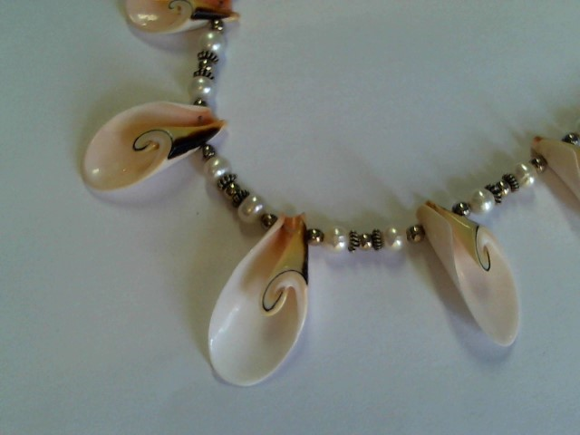 "SILVER PEARL AND SEE SHELL NECKLACE 16"" .925 SILVER CLASP MAYBE MAN MADE"