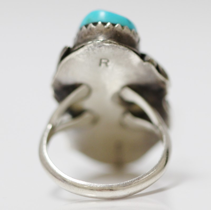 Vintage Inspired Sterling Silver Leaf & Turquoise Ring Size 6.75