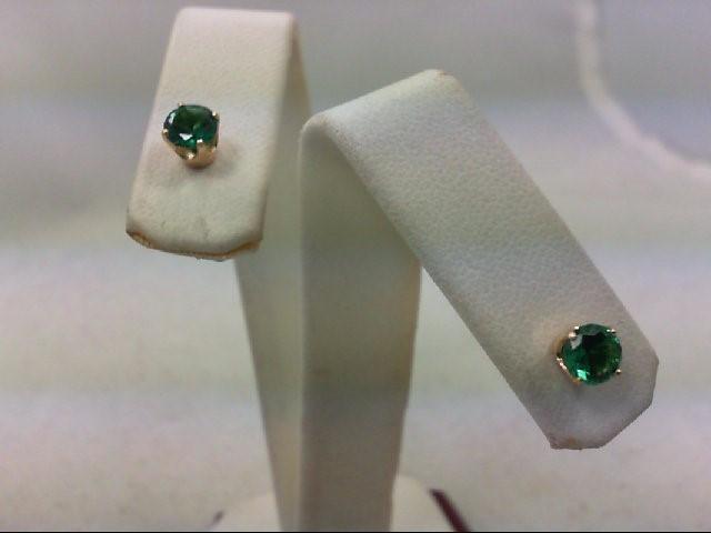 Emerald Gold-Stone Earrings 14K Yellow Gold 1g